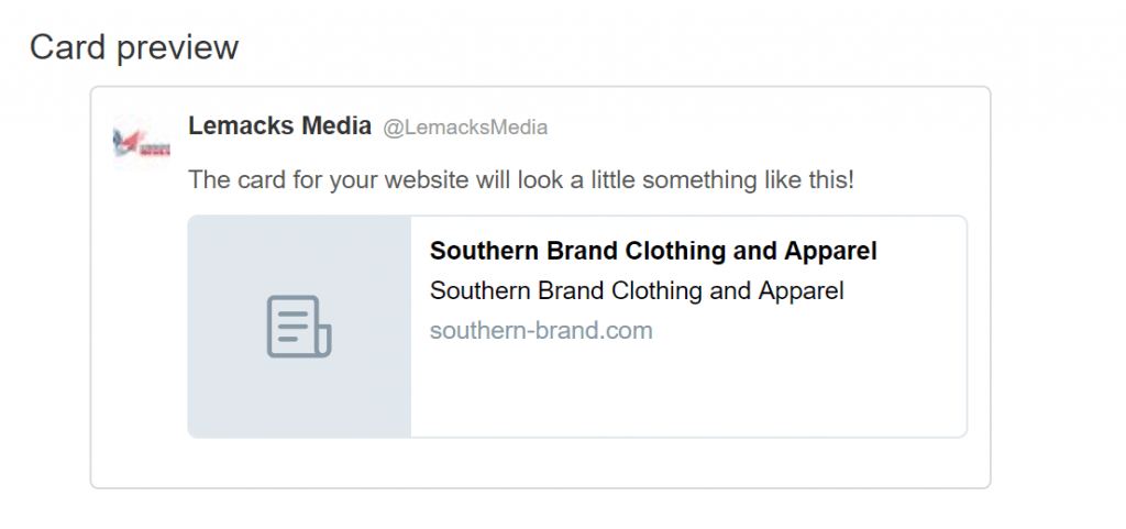 Southern Brand Clothing Twitter Card Preview