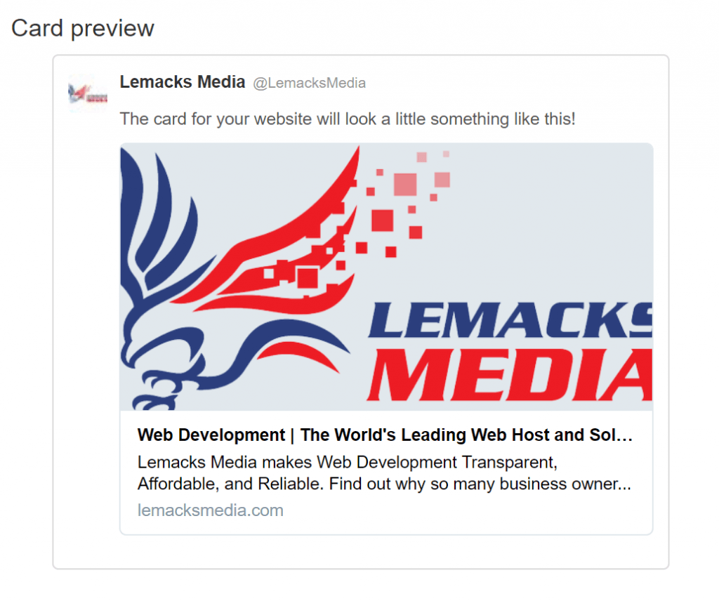 Lemacks Media Twitter Card Preview