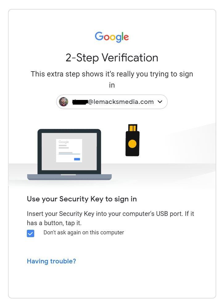 Google 2FA Security Screen